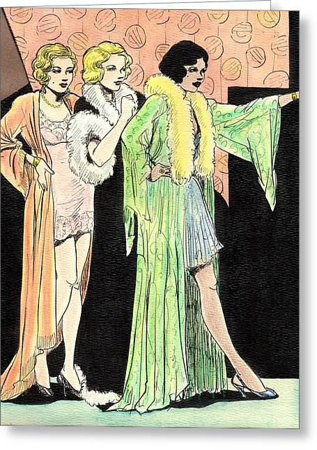 Lingerie Ladies Greeting Card by Mel Thompson