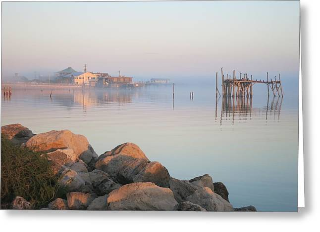 Cedar Key Greeting Cards - Lingering Fog over Cedar Key Greeting Card by Rory Brennan