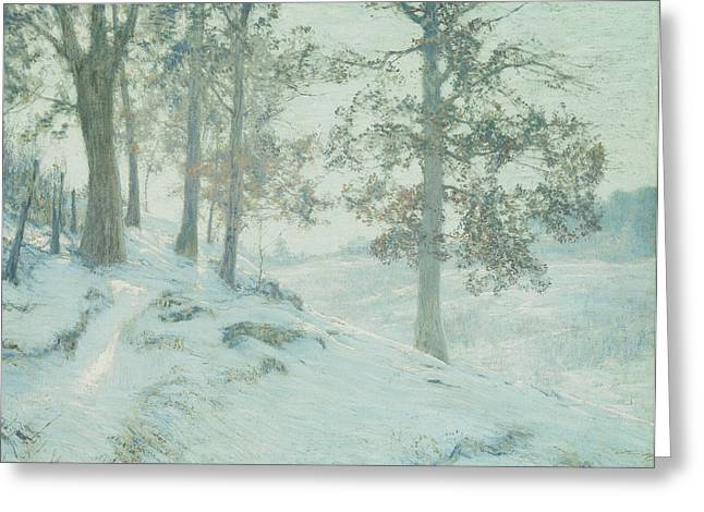 Wintry Greeting Cards - Lingering Oak Leaves Greeting Card by Walter Launt Palmer