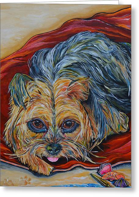 York Beach Paintings Greeting Cards - Lingo the Yorkie Greeting Card by Patti Schermerhorn
