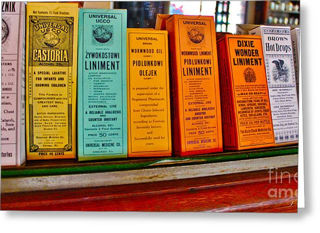 Liniment Greeting Cards - Liniments from 1864 Greeting Card by Janice Rae Pariza
