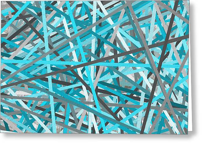 Turquoise Abstract Art Greeting Cards - Link - Turquoise And Gray Abstract Greeting Card by Lourry Legarde