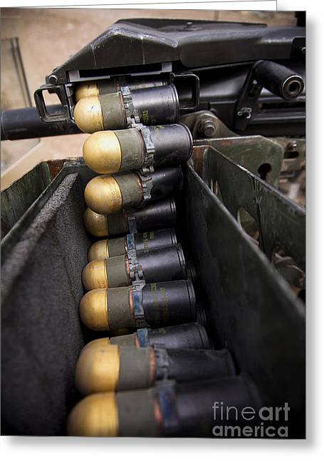 40mm Greeting Cards - Linked 40mm Rounds Feed Into A Mark 19 Greeting Card by Stocktrek Images