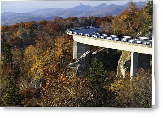 Roadway Greeting Cards - Linn Cove Viaduct Curve Greeting Card by Lynn Bauer