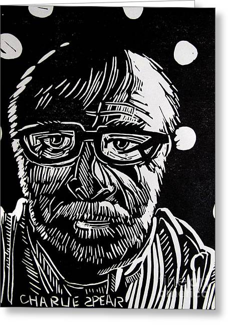 Auto-portrait Greeting Cards - Lino Cut Charlie Spear Greeting Card by Charlie Spear