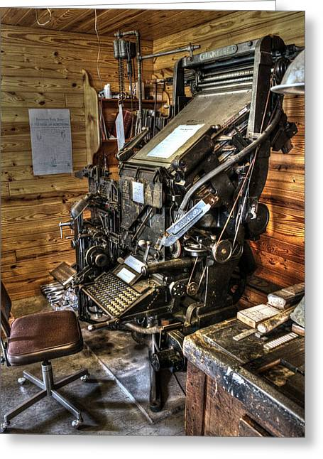 Recently Sold -  - Log Cabins Greeting Cards - Linotype Machine Greeting Card by Ken Shuffield