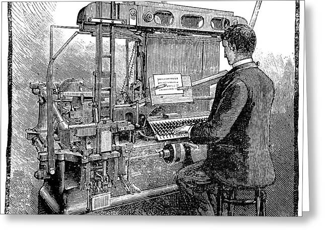 New York Tribune Greeting Cards - Linotype typesetting machine, 1889 Greeting Card by Science Photo Library