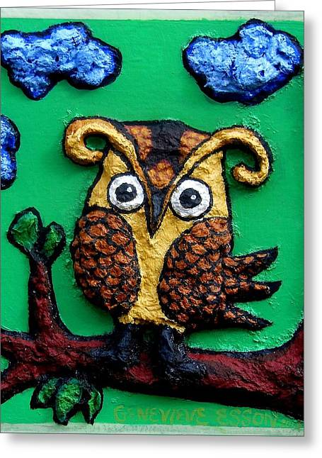 Mural Mixed Media Greeting Cards - Lint Owl Detail Greeting Card by Genevieve Esson