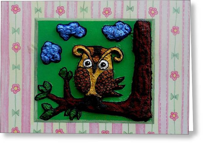 Papier Mache Greeting Cards - Lint Owl Greeting Card by Genevieve Esson