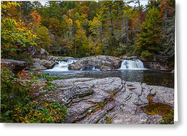 Linville Twin Falls Greeting Card by John Haldane