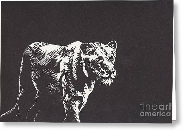 Lino Mixed Media Greeting Cards - Lion Greeting Card by Alexis Sobecky