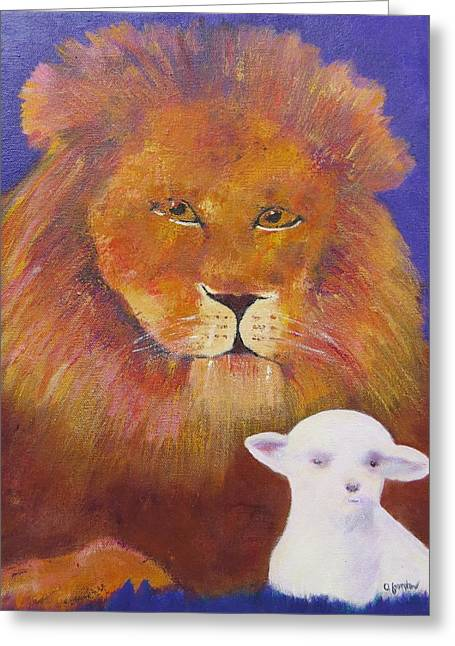 Lion And Lamb Greeting Cards - Lion and Lamb Greeting Card by Jenny Frampton
