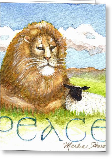 Lion And Lamb Greeting Cards - Lion and Lamb - Peace  Greeting Card by Marlene  Schwartz