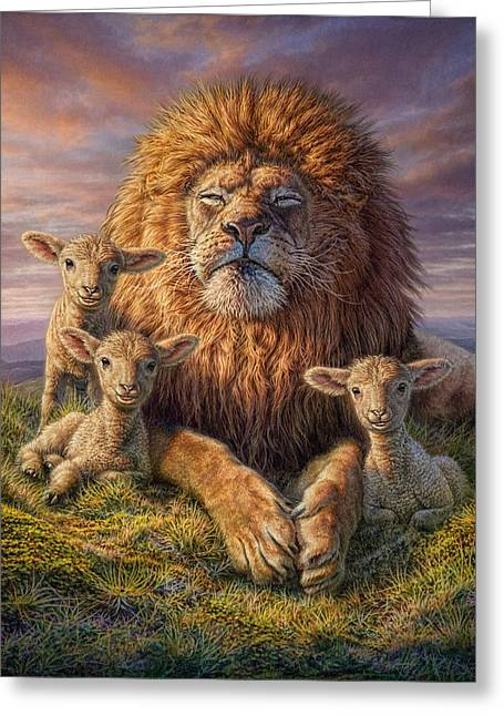 Relaxing Mixed Media Greeting Cards - Lion and Lambs Greeting Card by Phil Jaeger