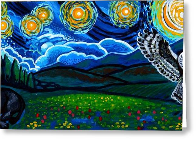 Healing Greeting Cards Greeting Cards - Lion And Owl On A Starry Night Greeting Card by Genevieve Esson