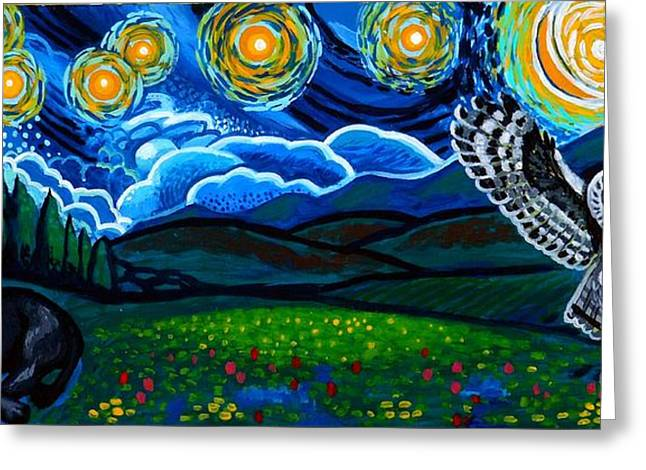 Yellow Flowers Stretched Prints Greeting Cards - Lion And Owl On A Starry Night Greeting Card by Genevieve Esson