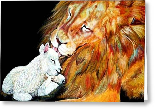 Jesus The Lion Of Judah Greeting Cards - Lion and the Lamb Greeting Card by Amanda  Stewart