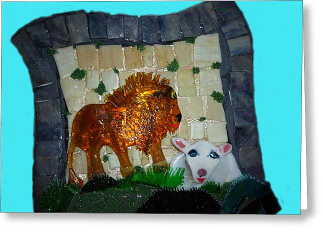 Lions Glass Art Greeting Cards - Lion and the Lamb Greeting Card by Cat Christensen
