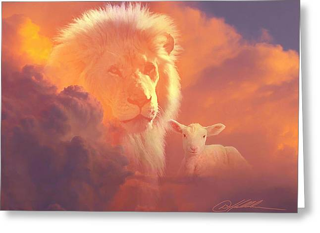 Lion Lamb Greeting Cards - Lion and the Lamb Greeting Card by Danny  Hahlbohm