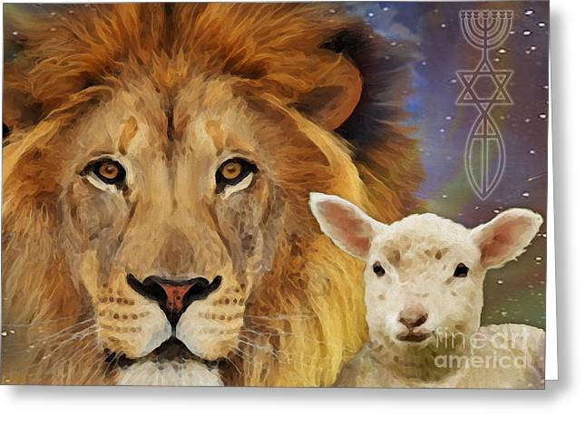 Lion And The Lamb Greeting Cards - Lion And The Lamb Greeting Card by Todd L Thomas