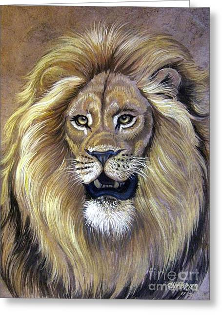 Amate Bark Paper Greeting Cards - Lion Greeting Card by Anne Shoemaker-Magdaleno