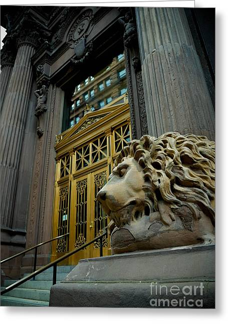 Regal Greeting Cards - Lion at Dollar Bank Building Pittsburgh Greeting Card by Amy Cicconi
