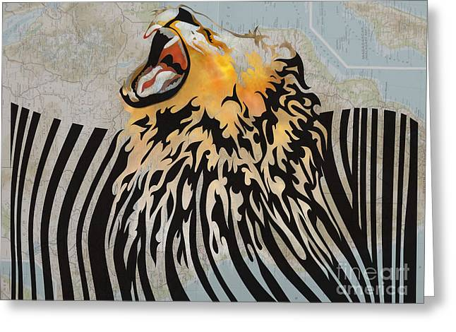 Fangs Greeting Cards - Lion Barcode Greeting Card by Sassan Filsoof