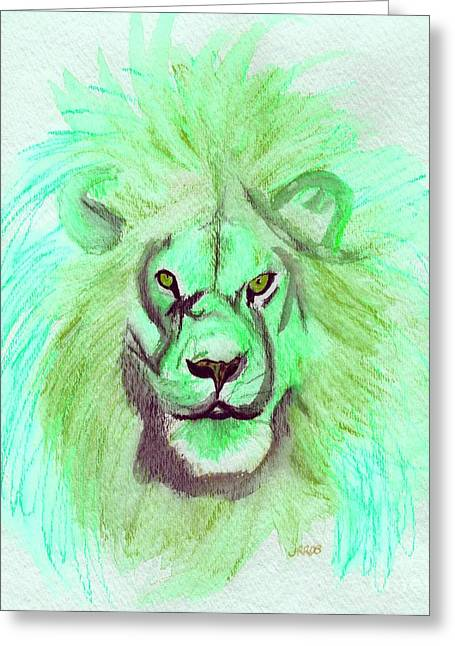 C.s Lewis Greeting Cards - Lion blue by jrr Greeting Card by First Star Art