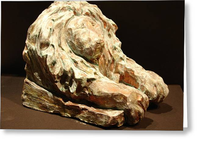 Lions Sculptures Greeting Cards - Lion Bookend  Greeting Card by Joseph Hawkins