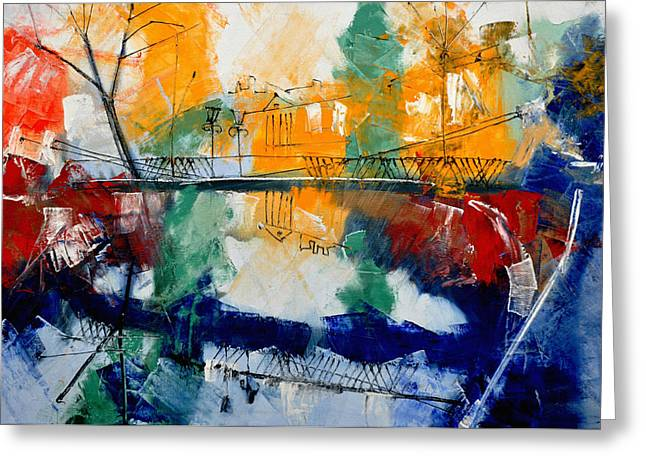 Europe Paintings Greeting Cards - Lion Bridge Greeting Card by Igor Nelubovich