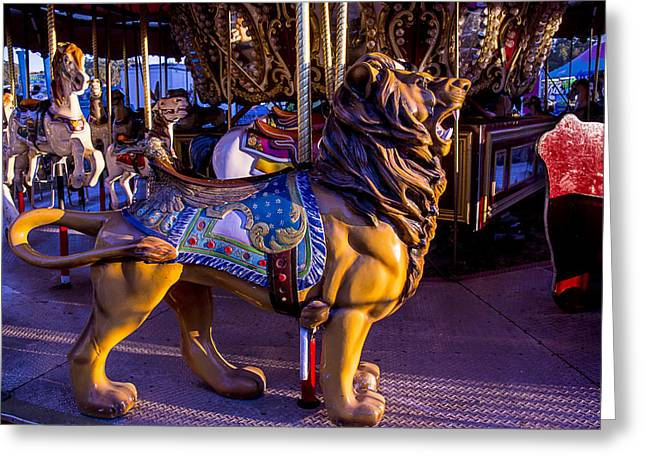 County Fair Greeting Cards - Lion Carrousel  Greeting Card by Garry Gay
