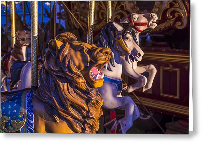 Amusements Greeting Cards - Lion Carrousel Ride Greeting Card by Garry Gay