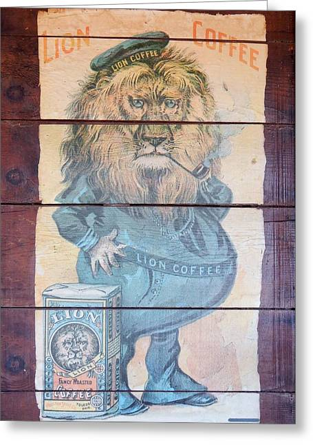 Lion Coffee Greeting Card by Susan Ince