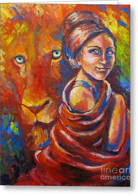 Biblical Art Greeting Cards - Lion covering Greeting Card by Tamer and Cindy Elsharouni
