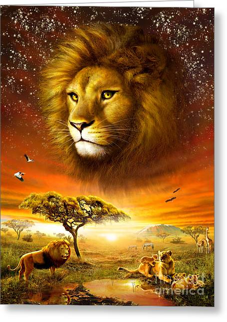 Lion Illustrations Greeting Cards - Lion Dawn Greeting Card by Adrian Chesterman