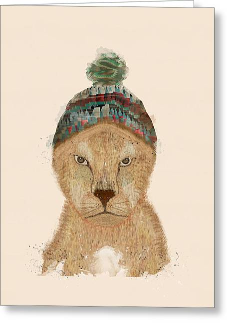 Lion Illustrations Greeting Cards - Lion Days Greeting Card by Bri Buckley