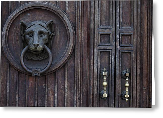 Firenza Greeting Cards - Lion Door Greeting Card by Ivete Basso