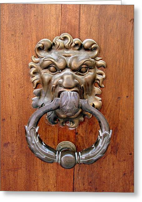 French Doors Greeting Cards - Lion Door Knocker Greeting Card by Ramona Johnston