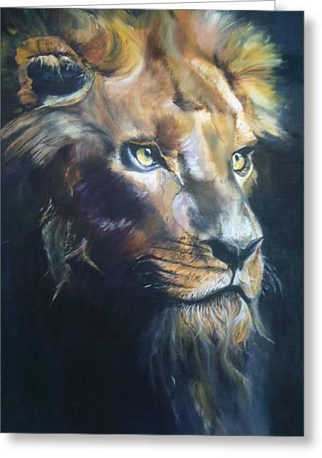 Recently Sold -  - Inner Self Paintings Greeting Cards - Lion Eyes 2012 Greeting Card by Harlene Bernstein