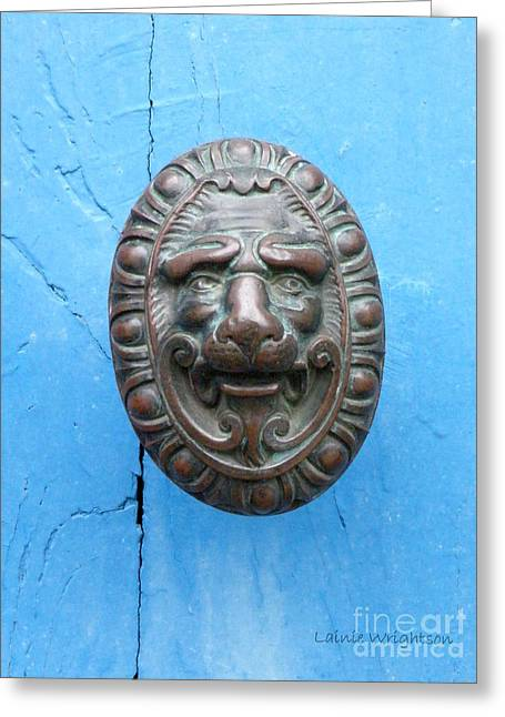 Provence Village Greeting Cards - Lion Face Door Knob Greeting Card by Lainie Wrightson