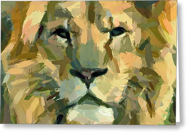 Recently Sold -  - Abstract Digital Greeting Cards - Lion face expression Greeting Card by Yury Malkov