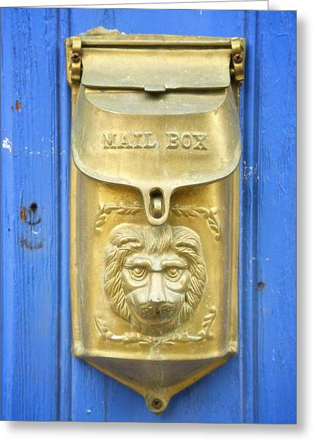 Postal Greeting Cards - Lion Faced Antique Mailbox on Blue in Salida Colorado Greeting Card by Mary Lee Dereske