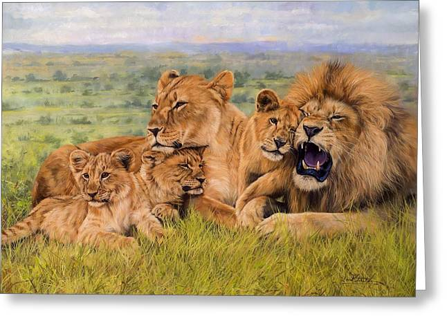 Lioness Greeting Cards - Lion Family Greeting Card by David Stribbling