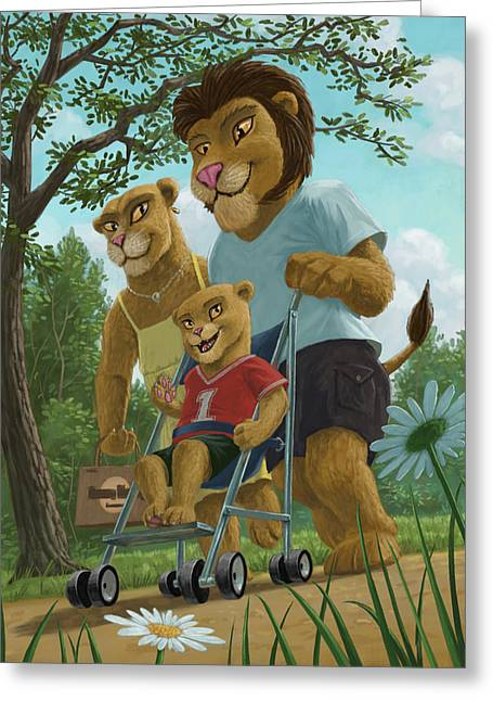 Lion Illustrations Greeting Cards - Lion Family In Park Greeting Card by Martin Davey