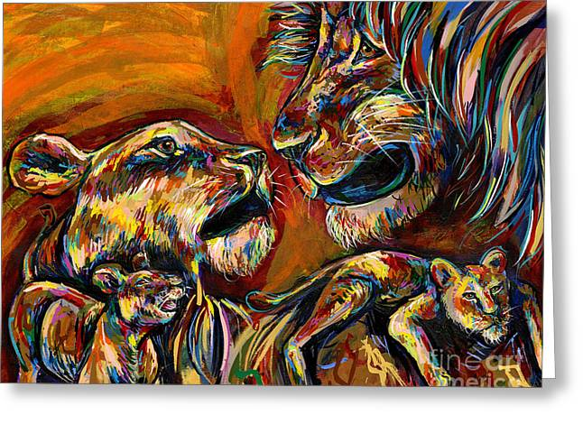 Love The Animal Greeting Cards - Lion Family Greeting Card by Lovejoy Creations