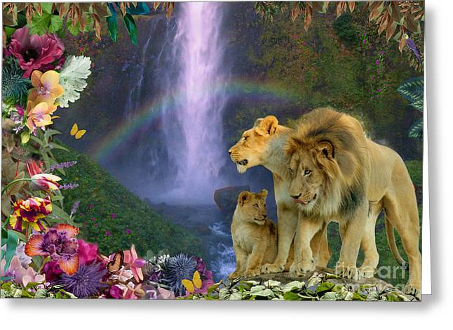 Lions Greeting Cards - Lion Family Paradise Greeting Card by Alixandra Mullins