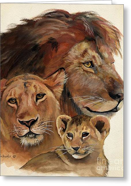 Lion Family Portrait Greeting Card by Suzanne Schaefer