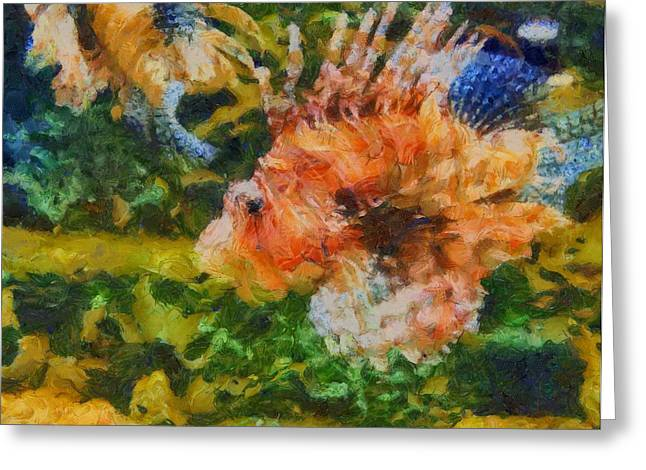 Reef Fish Mixed Media Greeting Cards - Lion Fish Paint Greeting Card by Dan Sproul