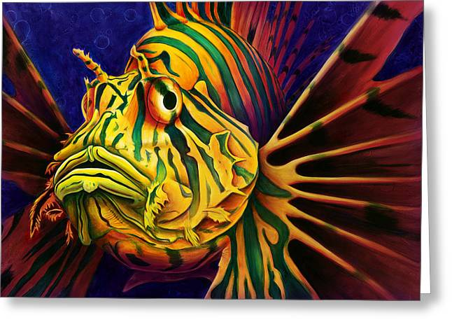 Under-water Greeting Cards - LionFish Greeting Card by Scott Spillman