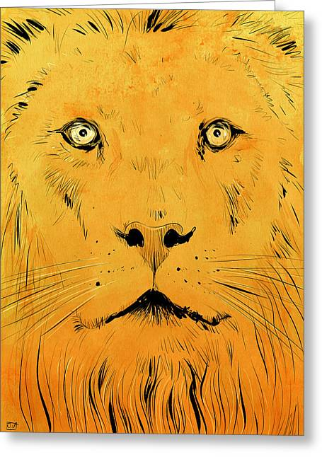 Lions Drawings Greeting Cards - Lion Greeting Card by Giuseppe Cristiano